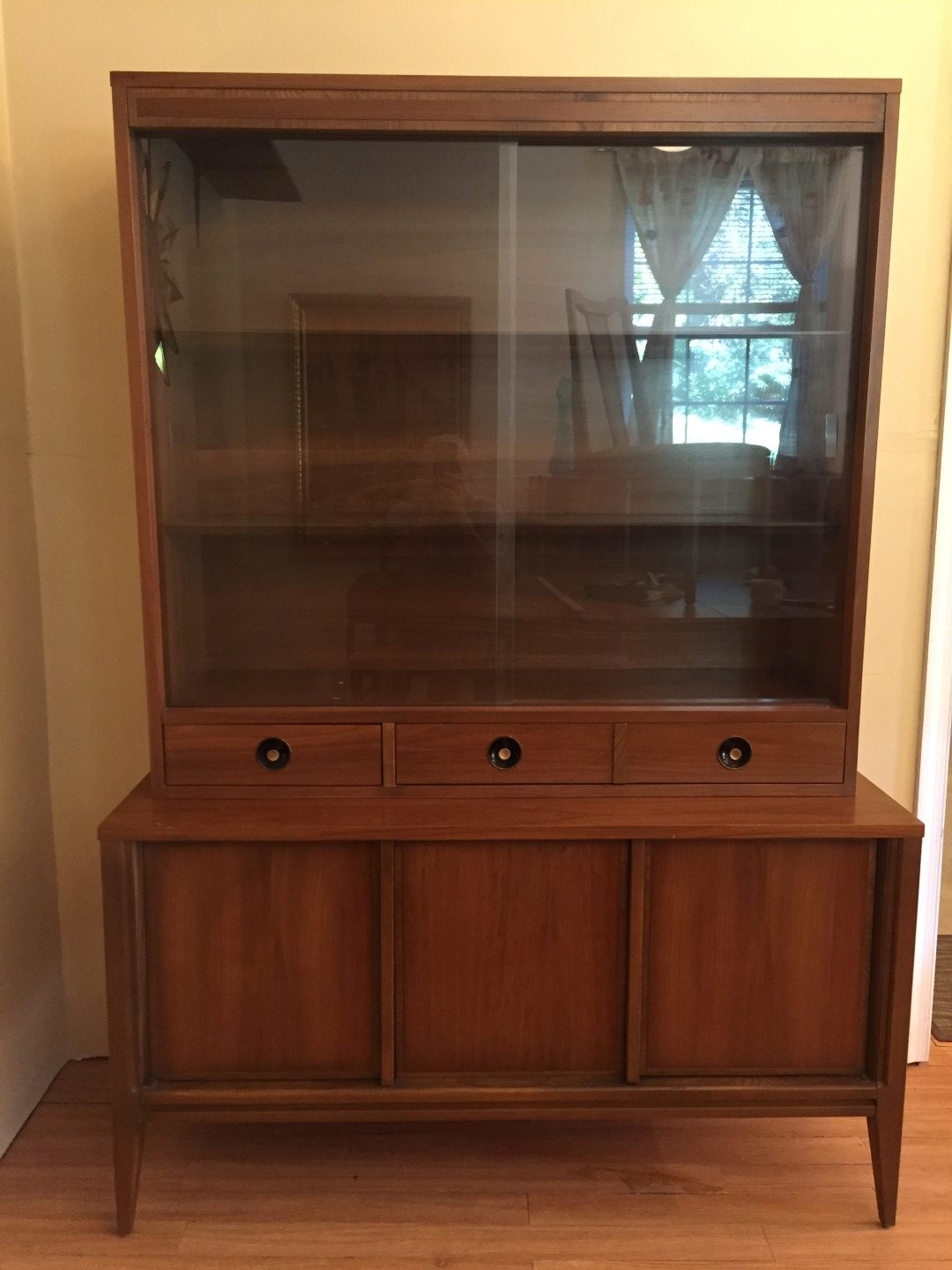 Mid Century Modern Walnut China Cabinet By Basic Witz Epoch