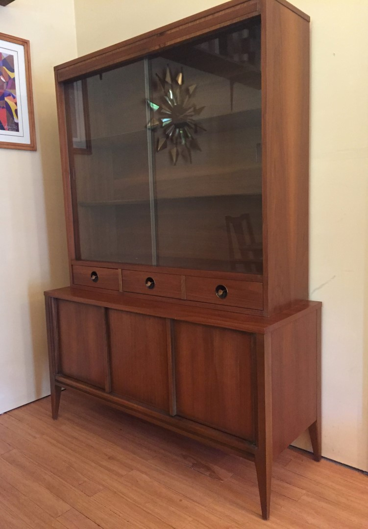 Mid Century Modern walnut china cabinet basic witz