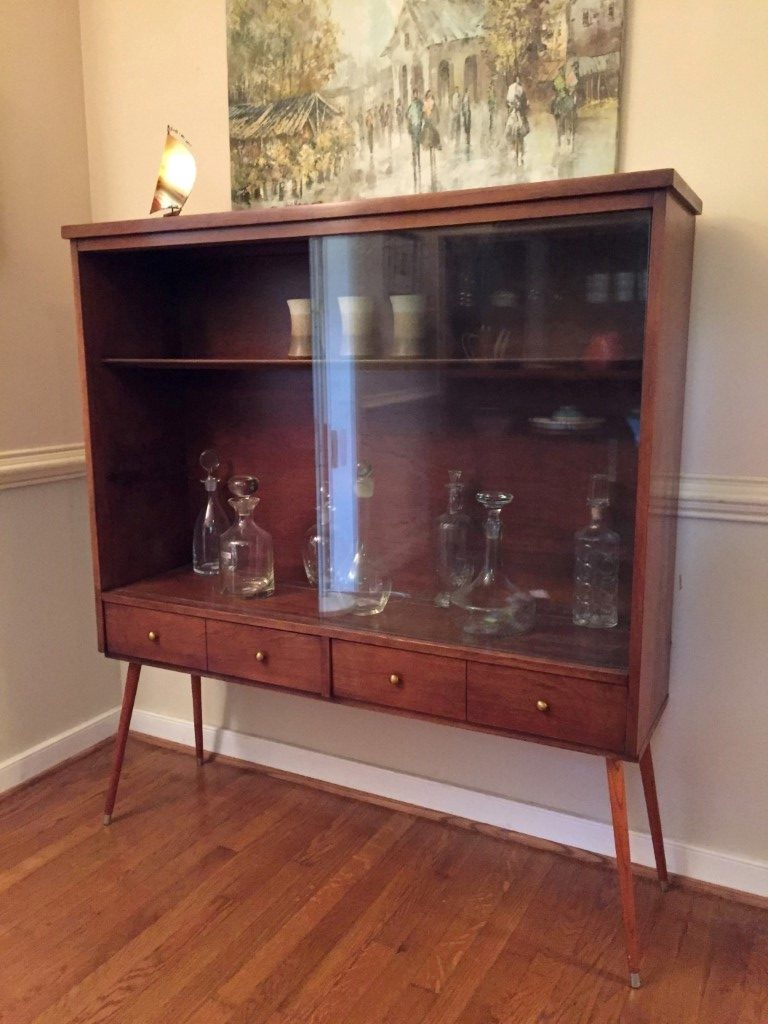 Mid Century modern walnut display cabinet glass doors lower drawers splayed legs