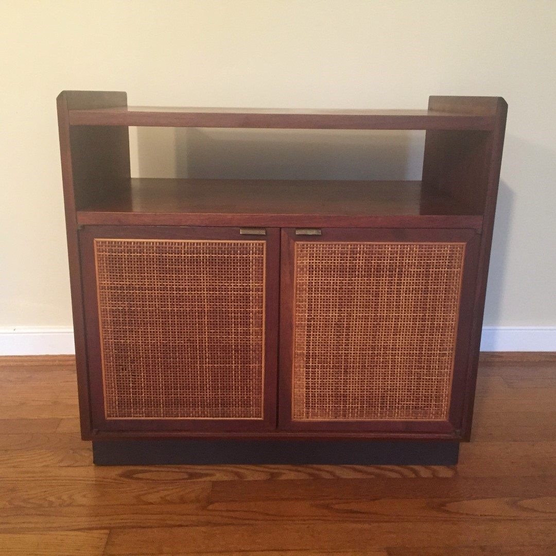mid century modern walnut and rattan record storage cabinet