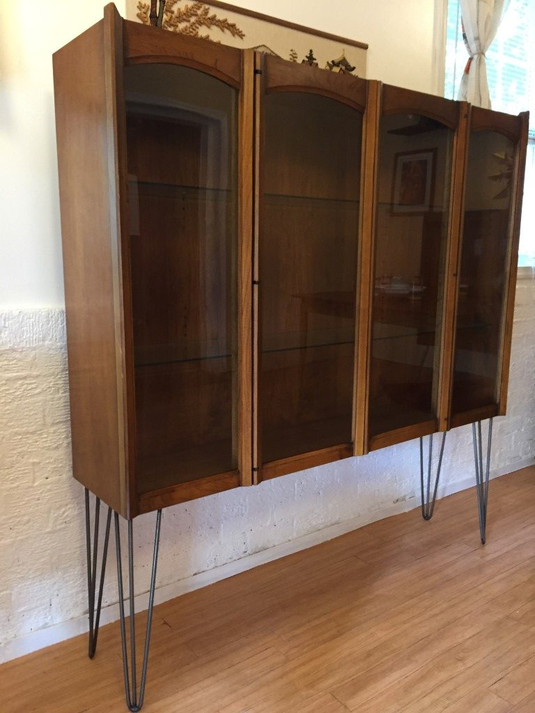 Illuminated Walnut Display Case First Edition Line By Andre Bus For Lane Epoch