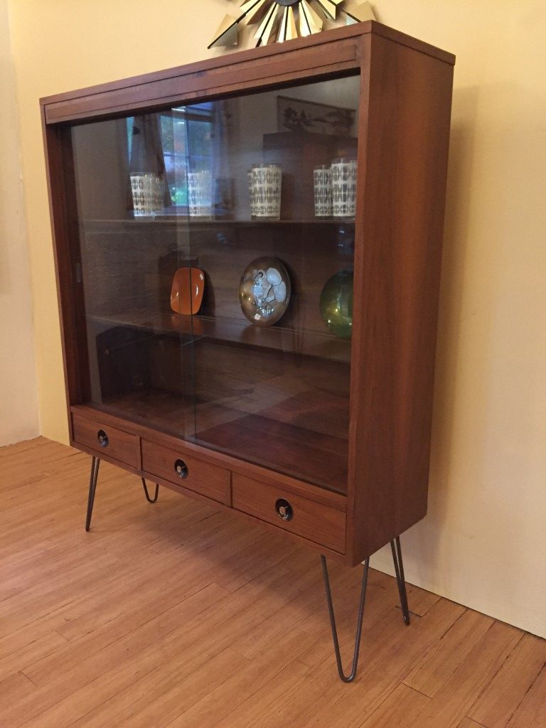 mid century modern glass fronted display cabinet with drawers