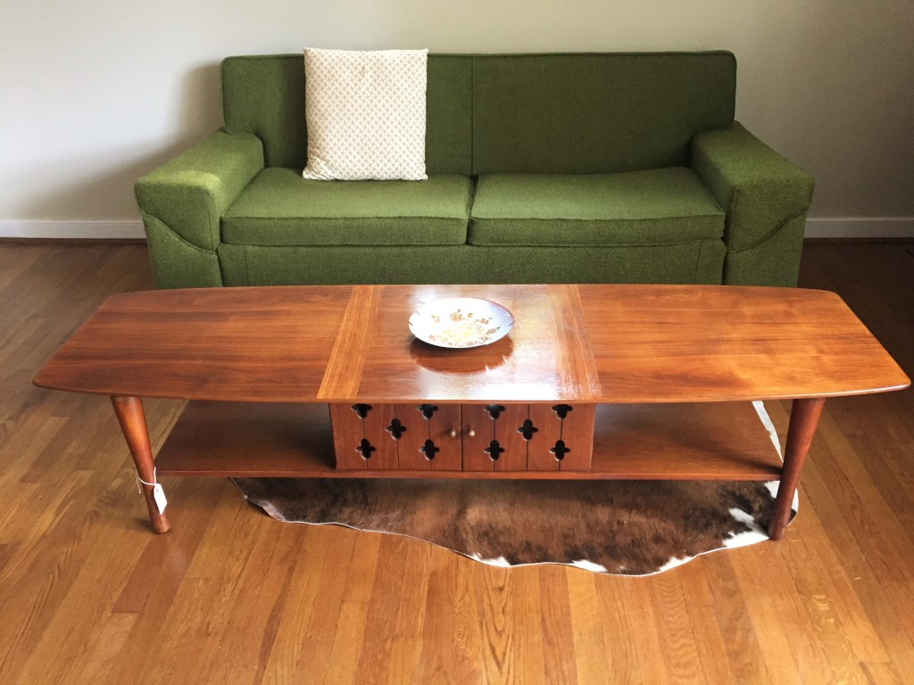 Walnut Surfboard Coffee Table With Cabinet Shelving By Henredon