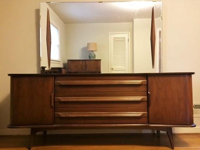 Mid Century Modern Lowboy Triple Dresser With Walnut