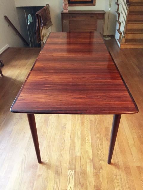 vintage norwegian rosewood dining table Gustav Bahus