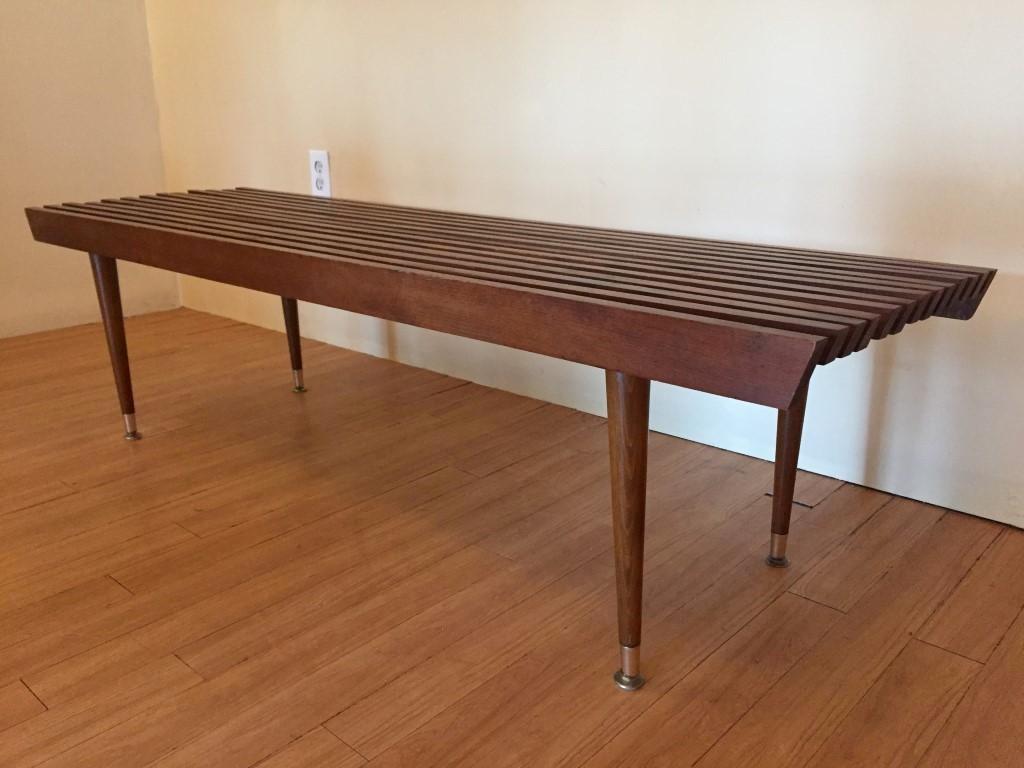 Mid Century Modern Yugoslavian Wood Slat Coffee Table