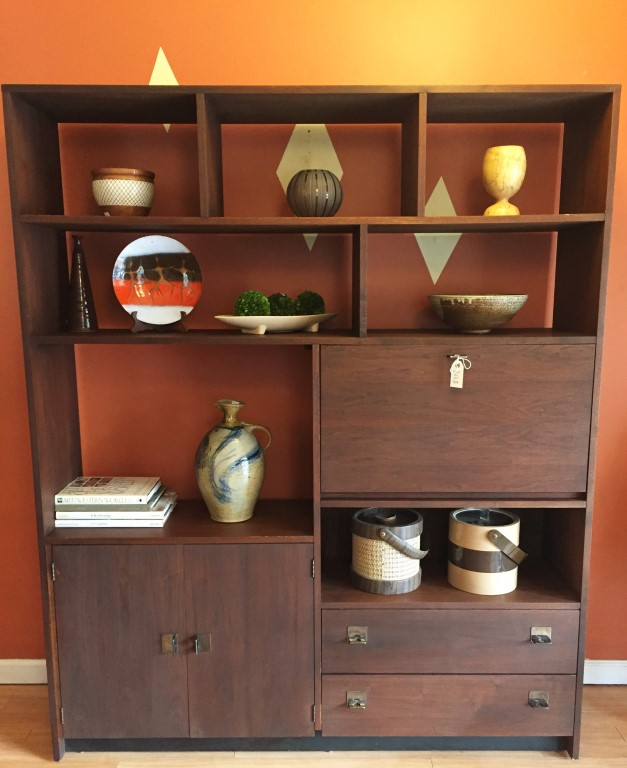 mid century modern drop front wall unit with drawers