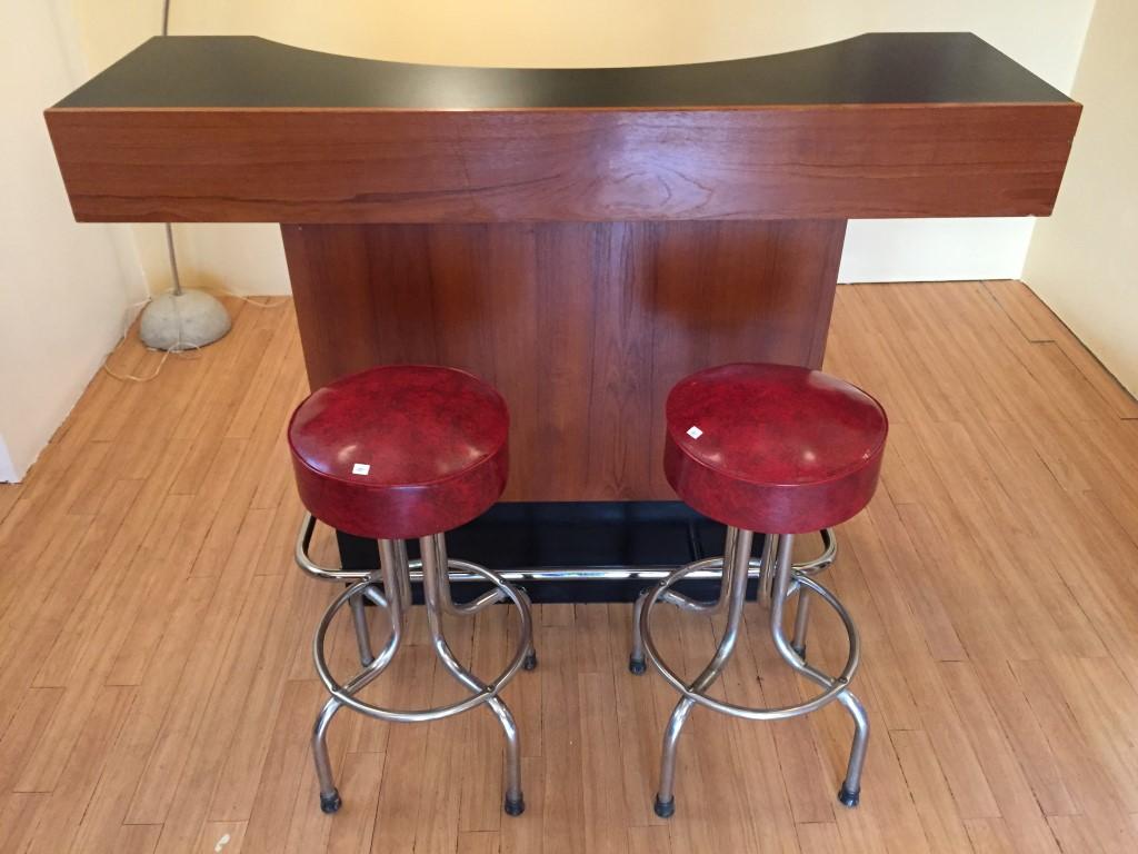danish modern teak bar chrome footrest