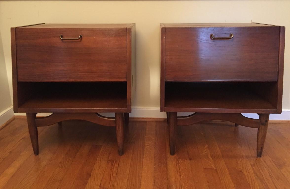 mid century modern drop front nightstands dania series american of martinsville