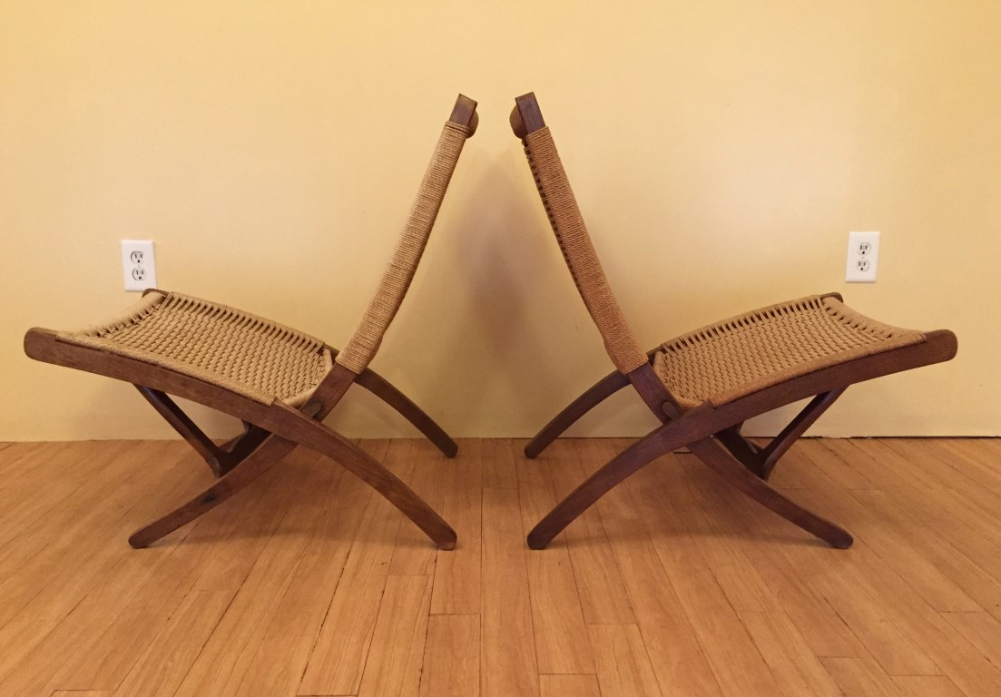 vintage folding scissor chair hans wegner