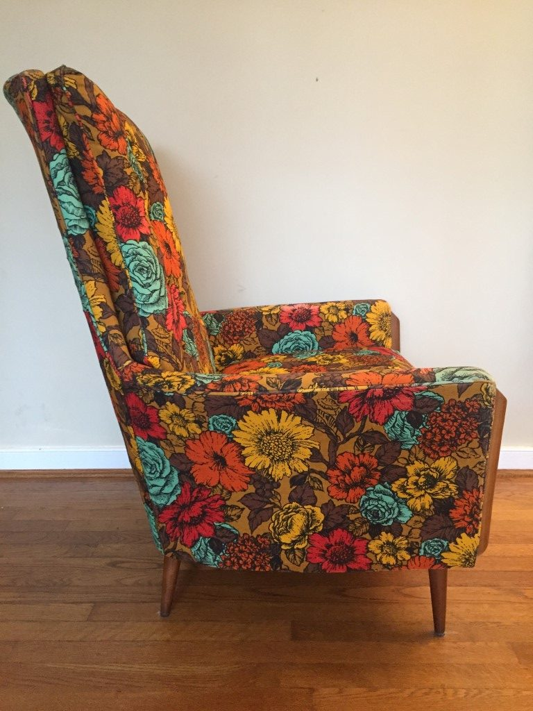 Vintage Mid Century Flower Print Arm Chair In The Style Of