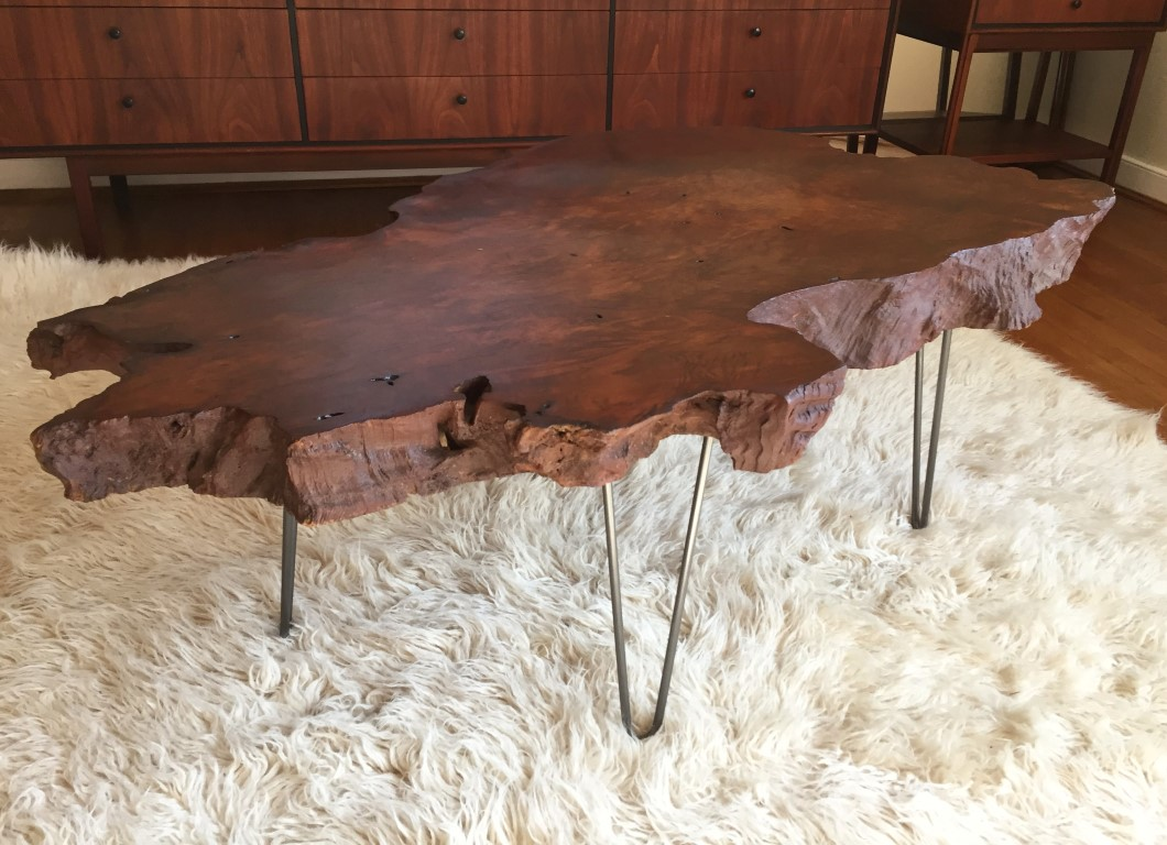 vintage redwood burl coffee table