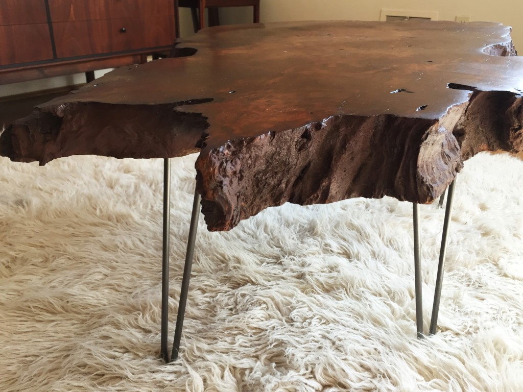 Vintage Redwood Burl Coffee Table On Hairpin Legs Epoch