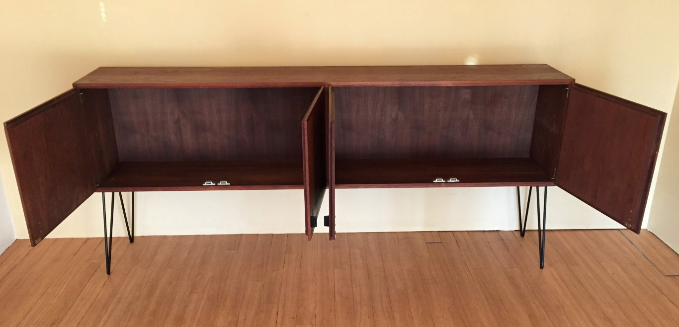 vintage walnut credenza leather accents hairpin legs
