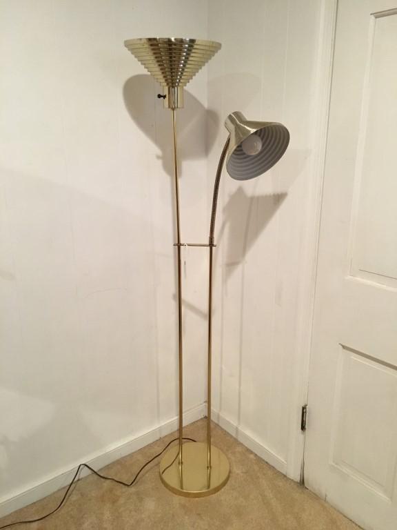 Brass Adjustable Cone Shade Floor Lamp