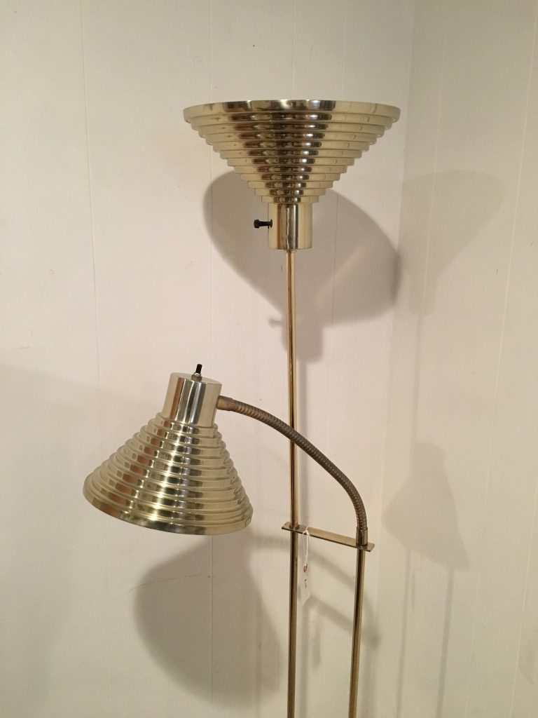 Brass Adjustable Cone Shade Floor Lamp