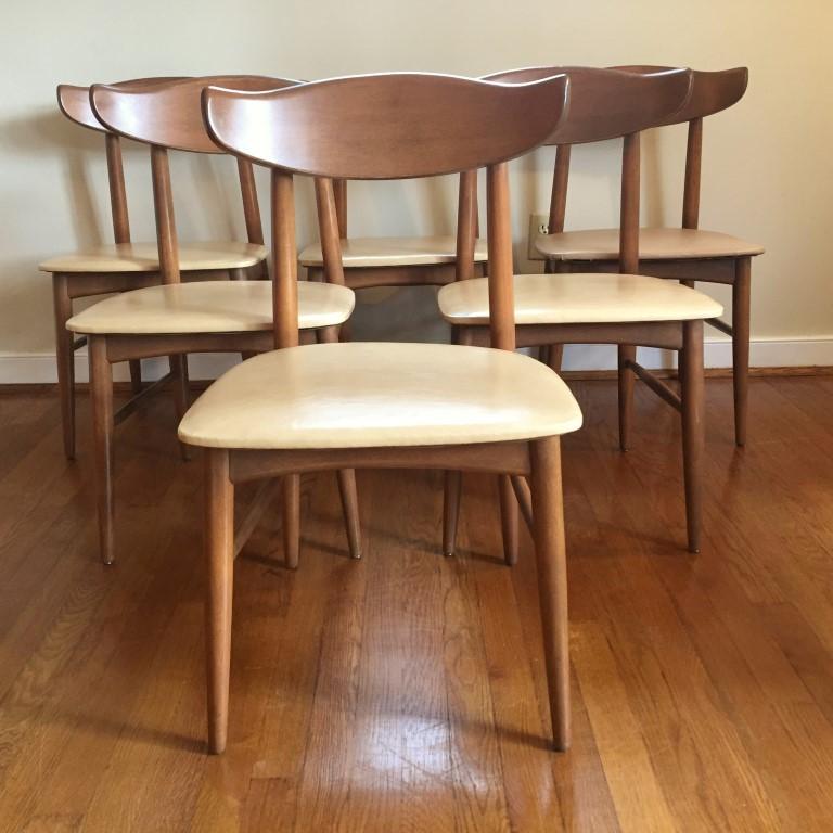 Mid Century Vintage Danish Modern Birchcraft Dining Chairs by Baumritter