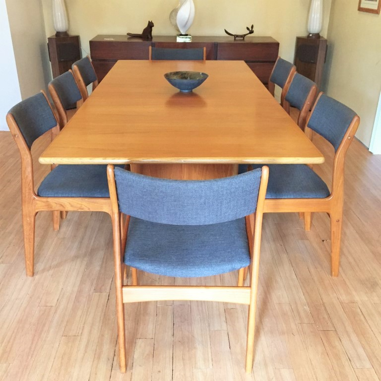 Danish modern dining set with 8 newly upholstered d scan for Dscan dining room set