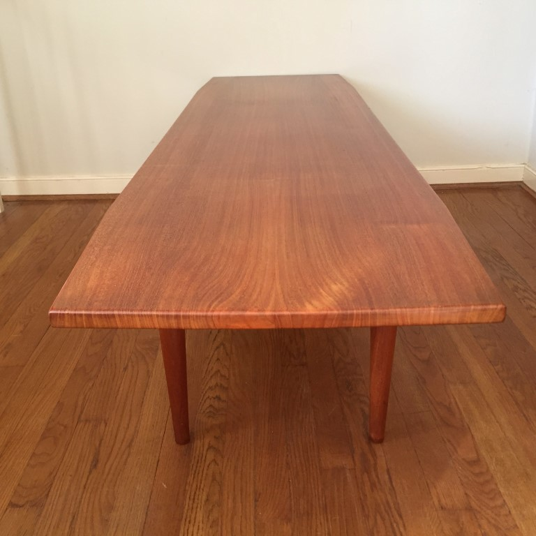 Long Low Coffee Table: Mid Century Danish Modern Solid Teak Coffee Table