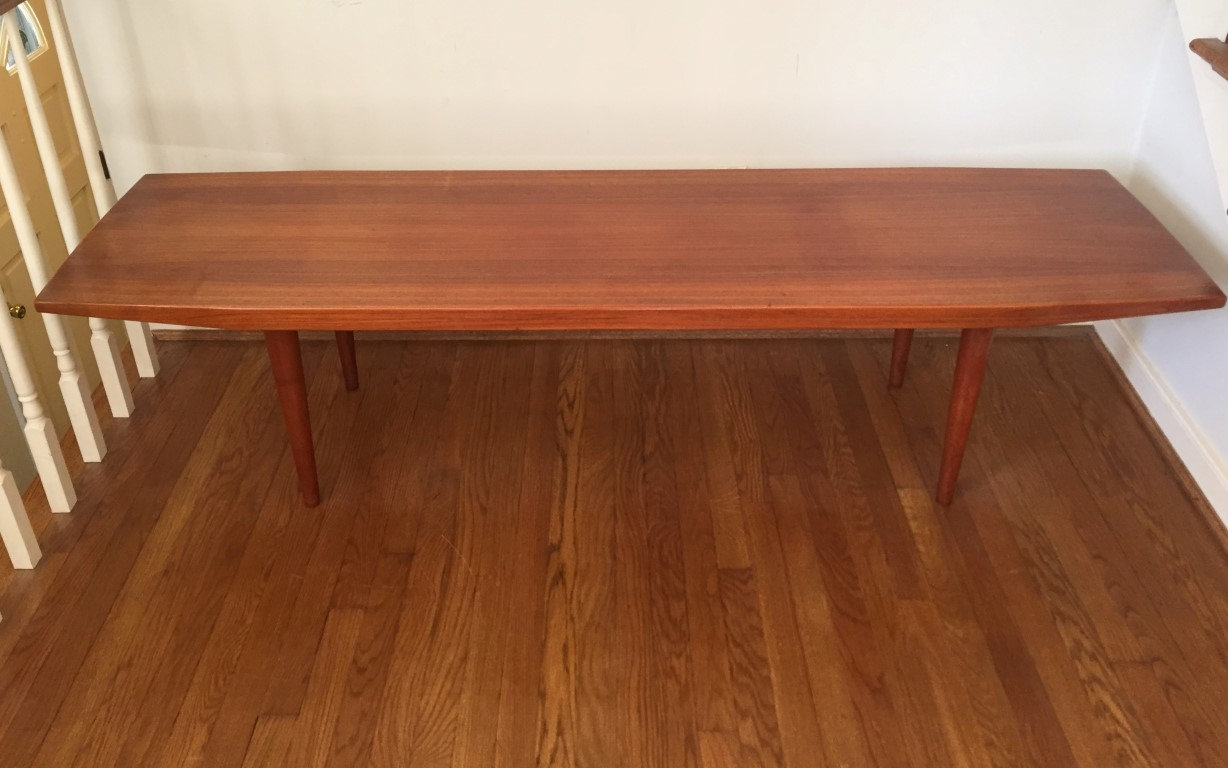 Mid Century Danish Modern Solid Teak Coffee Table Epoch