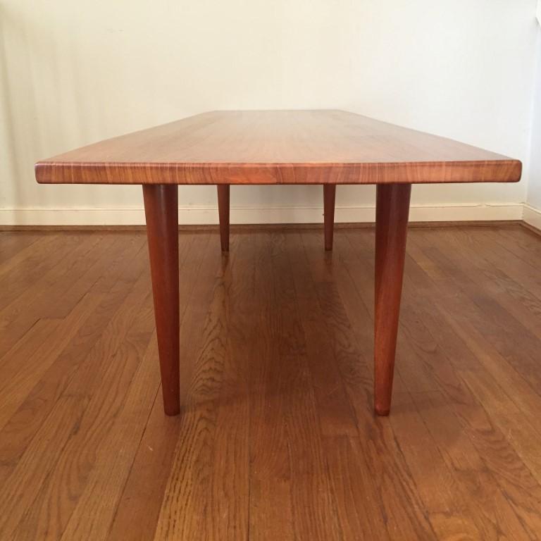 Reserved Mid Century Modern Lane Burl Wood Surfboard Coffee: Mid Century Danish Modern Solid Teak Coffee Table