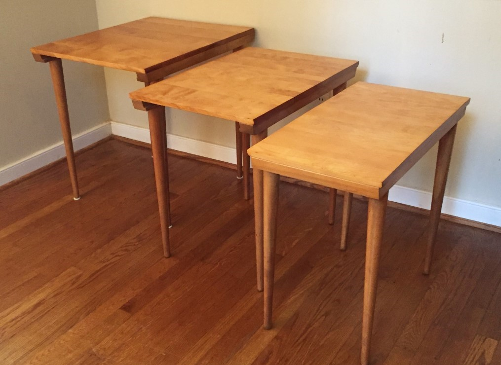mid century modern birch nesting tables russel wright conant ball