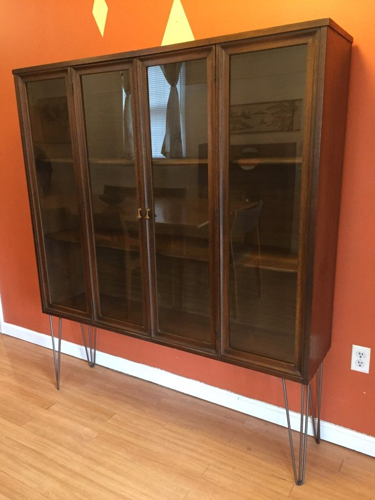 Vintage Broyhill Brasilia Walnut Glass Fronted Display Cabinet Epoch