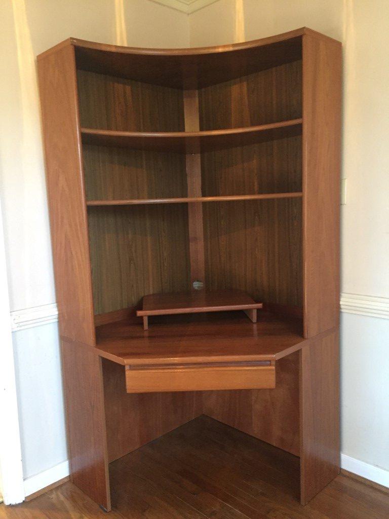 Mid Century Modern Danish Teak Corner Cabinet and Desk
