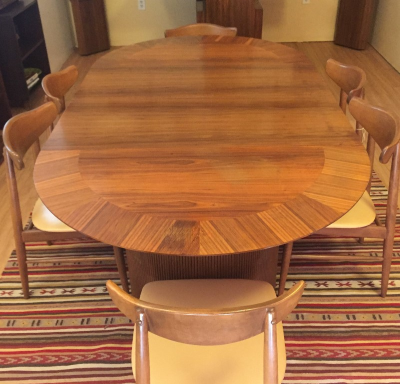 Mid Century Circular Walnut Dining Table Andre Bus For