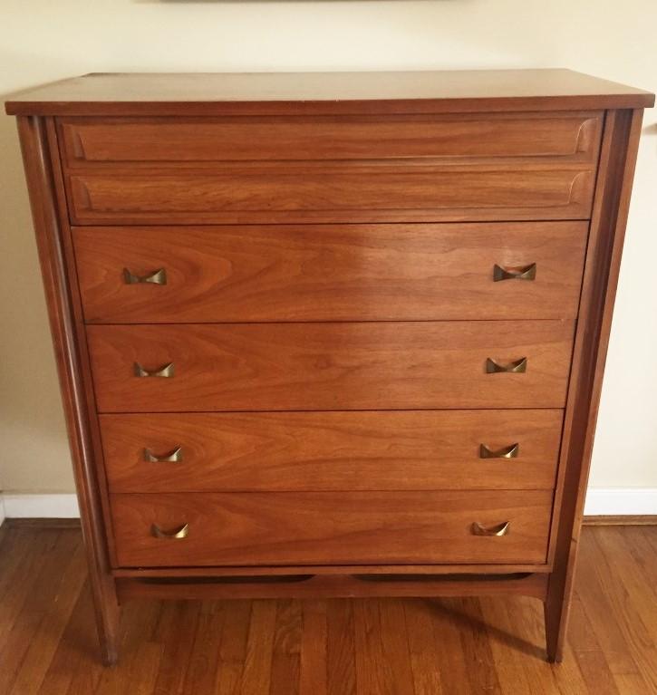 mid century modern vintage highboy dresser by Dixie