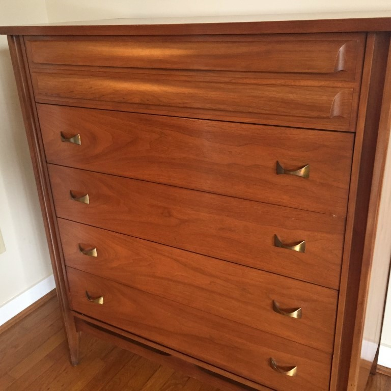 Mid Century Modern Walnut Highboy Dresser By Dixie