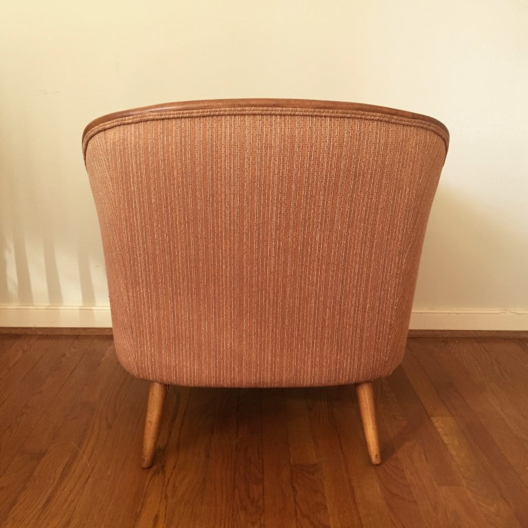 mid century modern upholstered armchair teak wood accents