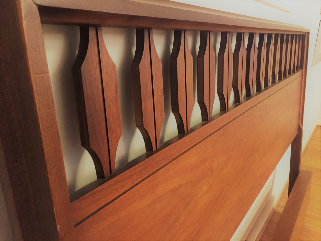 Mid Century Modern Walnut Headboard, Footboard, and Rails