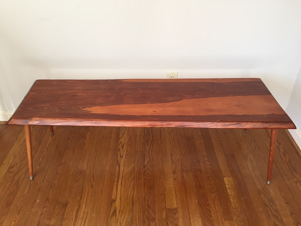 Sculpted Cypress Coffee Table with Beveled Edge