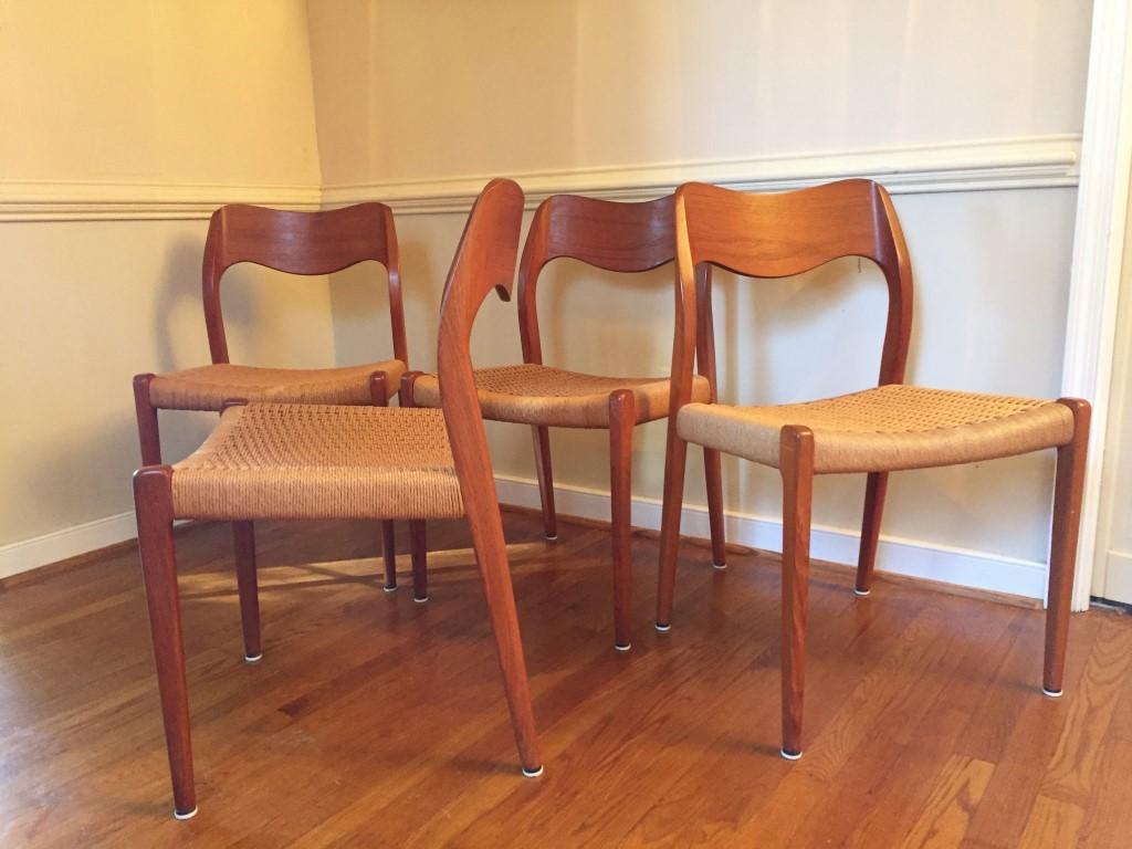 vintage danish modern dining chair niels moller 71