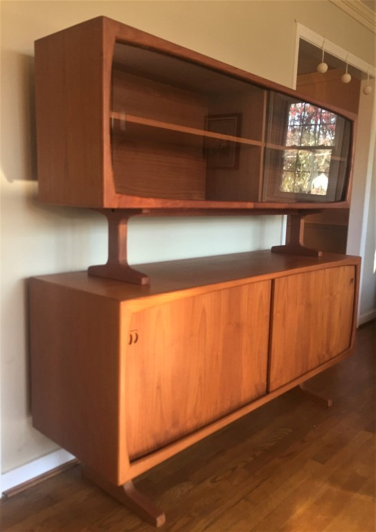 Danish Teak Sideboard With Glass Front Top Cabinet By