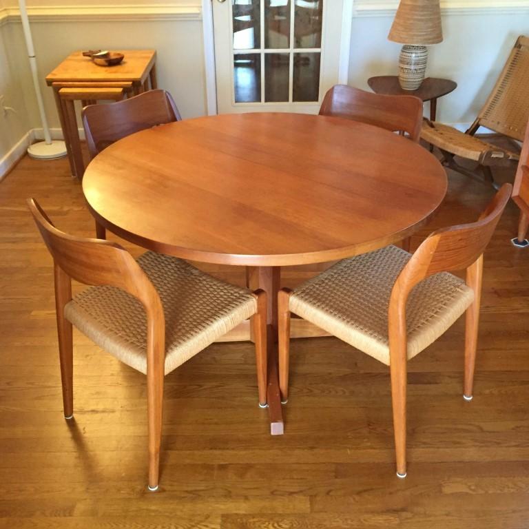 vintage danish modern teak dining table niels moller