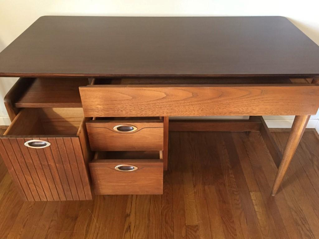 mid century modern walnut desk hooker