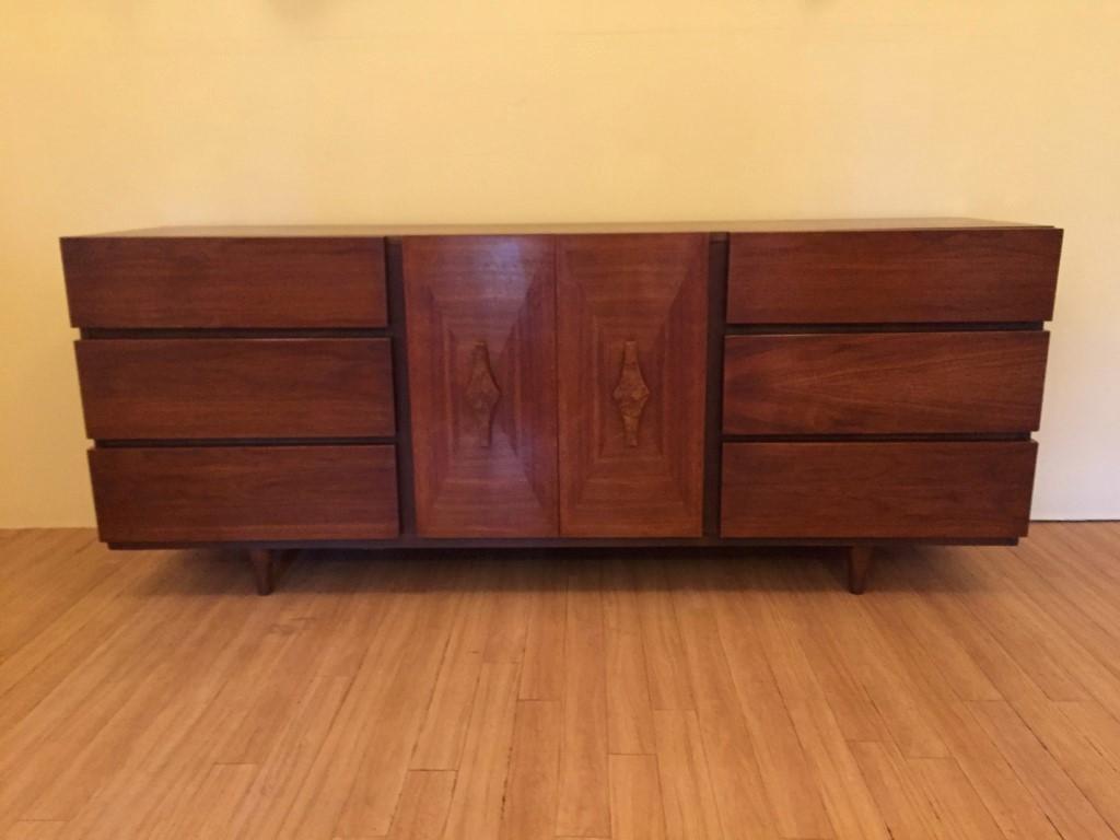 Vintage Mid Century Walnut Triple Dresser With Sculpted Burl Handles Epoch