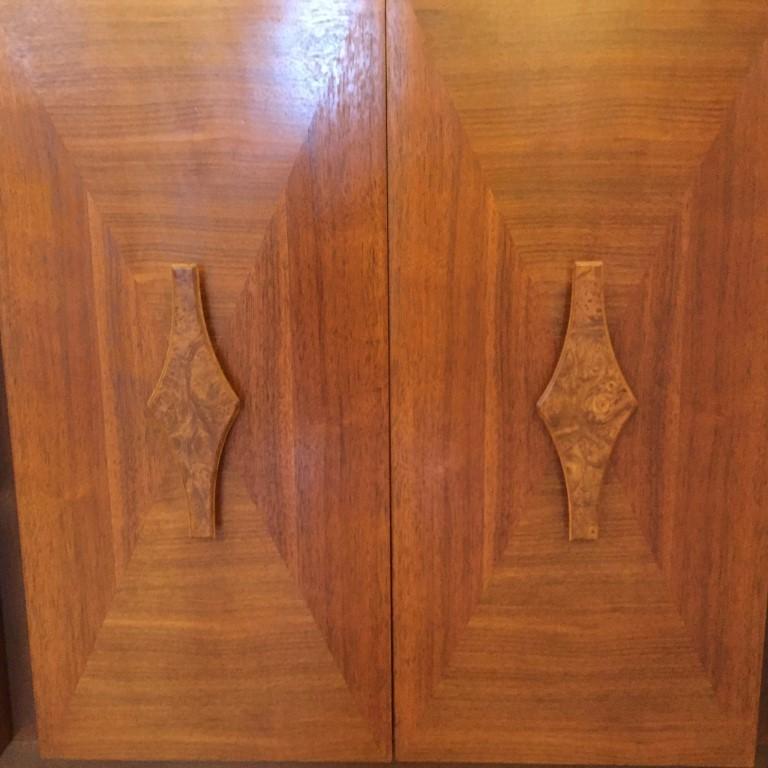 vintage mid century triple walnut dresser burl handles