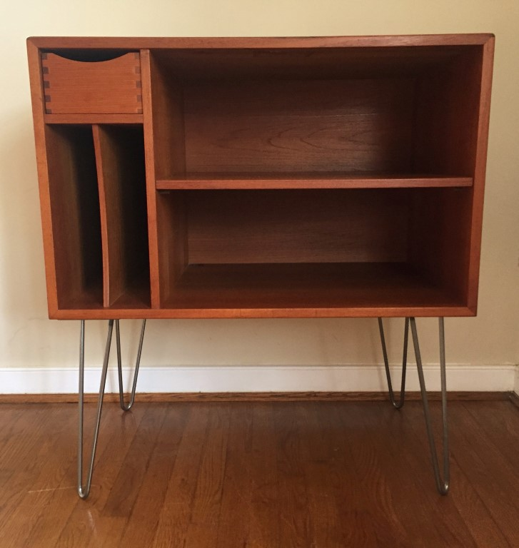 Danish Modern Teak Media Center With Drawer And Album Storage