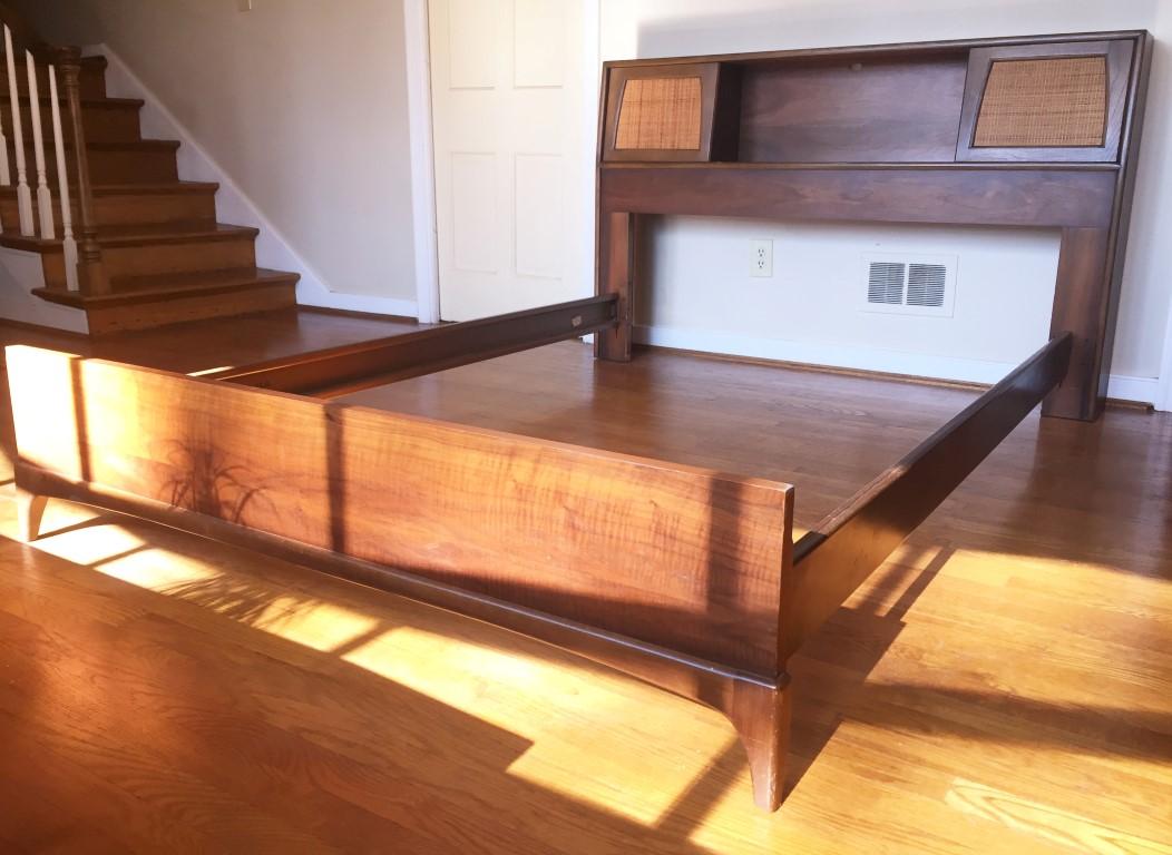 mid century modern lane rhythm full headboard bookcase walnut rattan