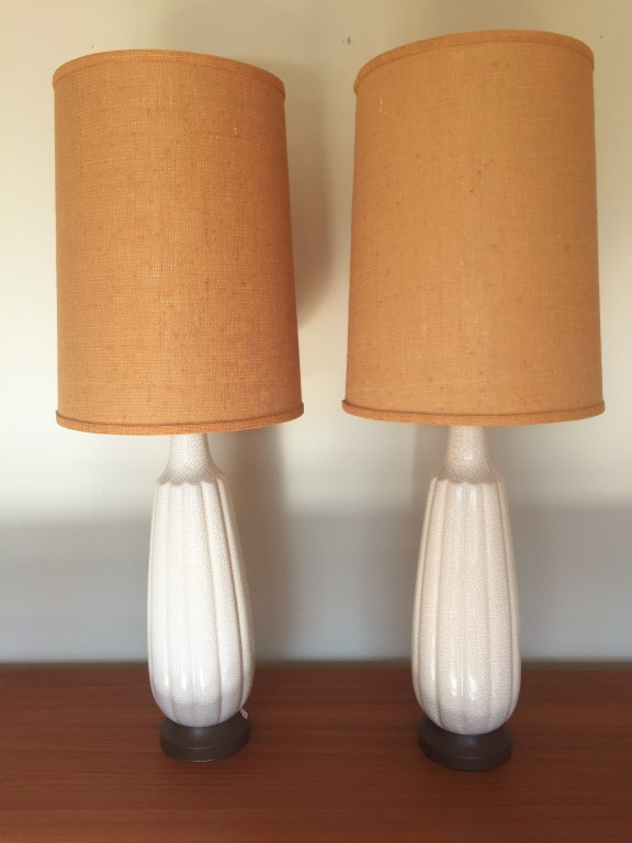 This Statuesque Pair Of Vintage Ceramic Table Lamps Features A Fluted White Body With Original Burlap Shades And 3 Way Lighting
