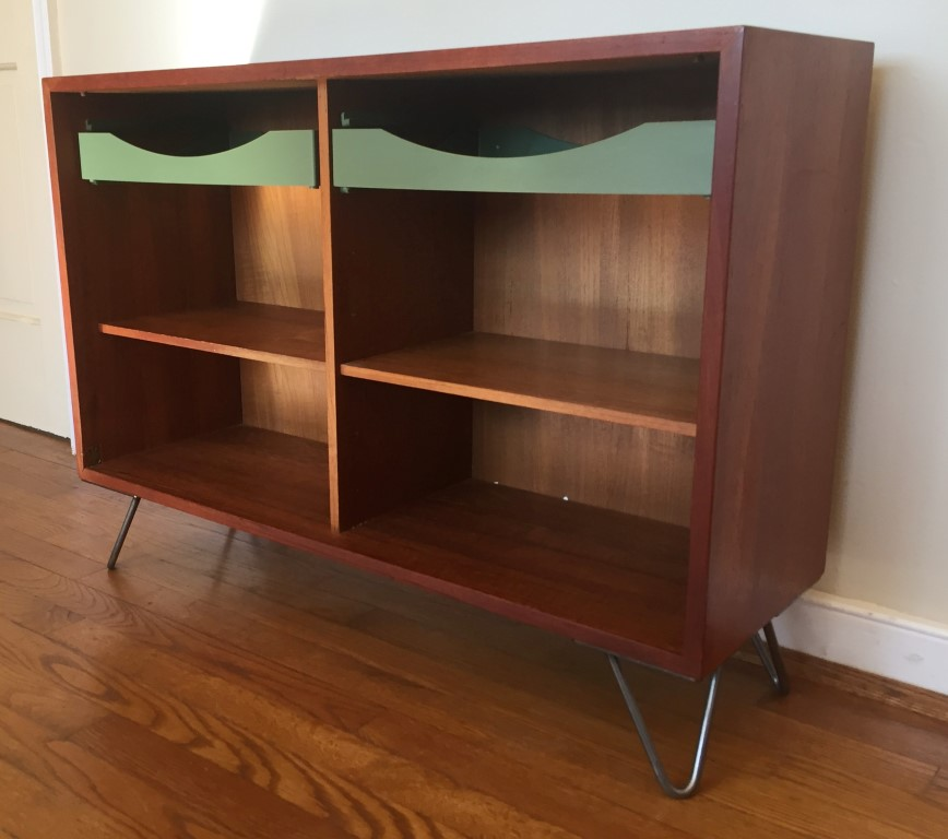 mid century modern teak bookshelf melamine drawers