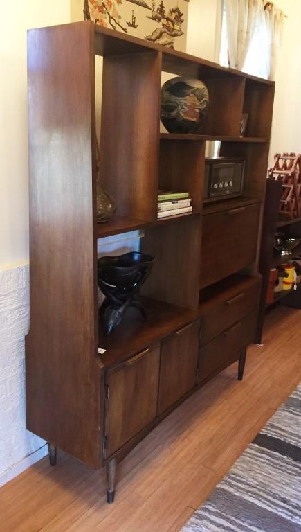 Modern Walnut Living Room Furniture: Vintage Mid Century Modern Walnut Room Divider Wall Unit