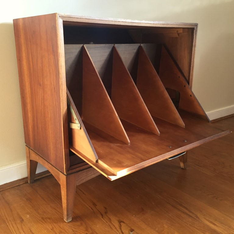 Mid Century Drop Front Walnut Record Storage Cabinet By