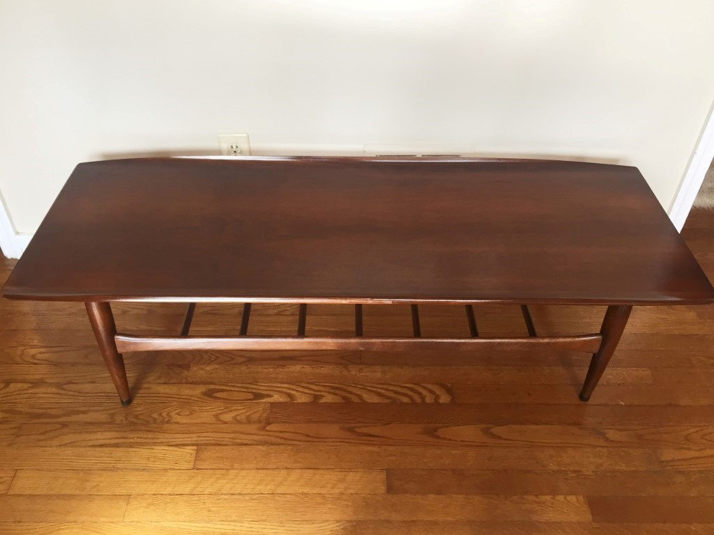 Mid Century Modern Bassett Artisan Walnut Surfboard Coffee Table Epoch