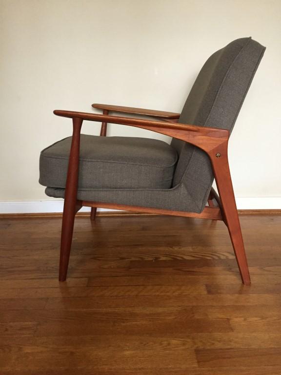 danish modern teak upholstered armchair