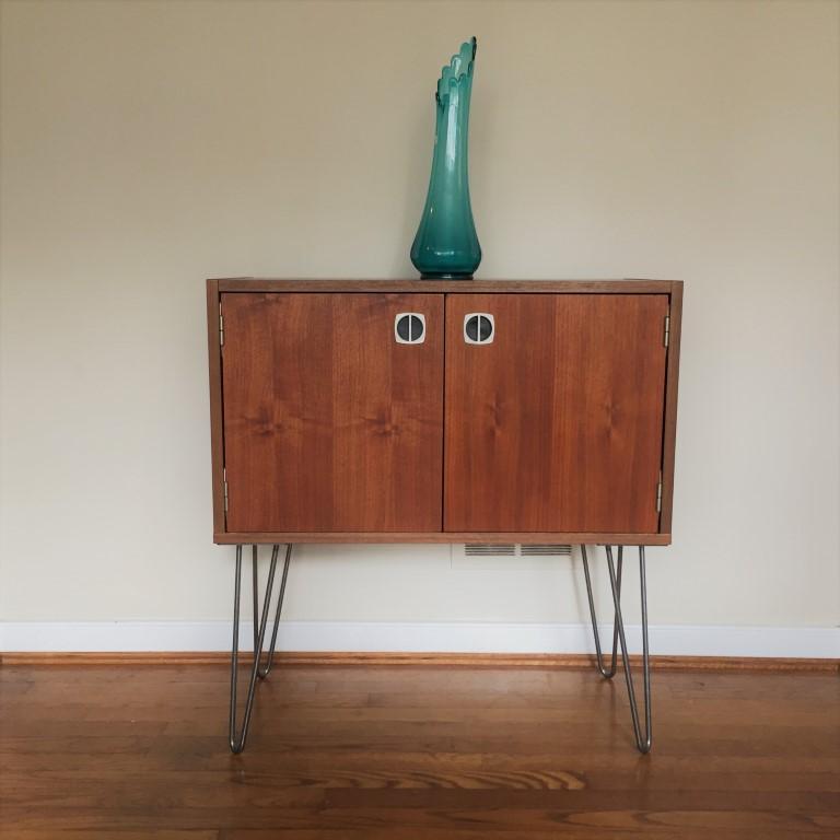 vintage walnut storage cabinet