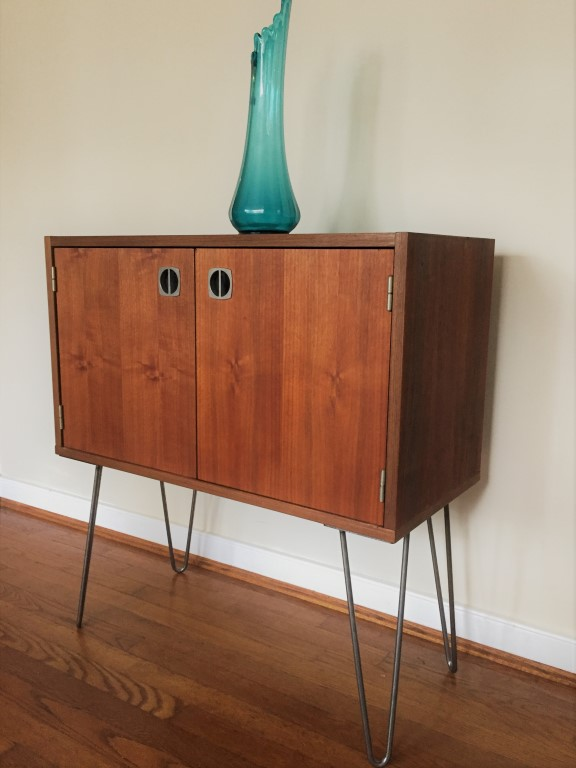 Vintage Walnut Storage Cabinet With Aluminum Recessed